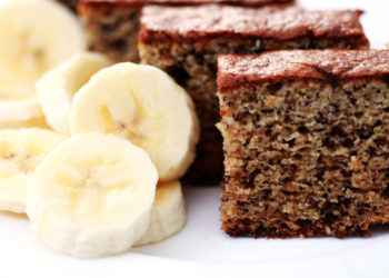 delicious banana cake with fresh banana - sweet food