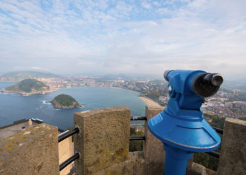 San Sebastian bay viewed from Igueldo mount, Basque Country, Spain.