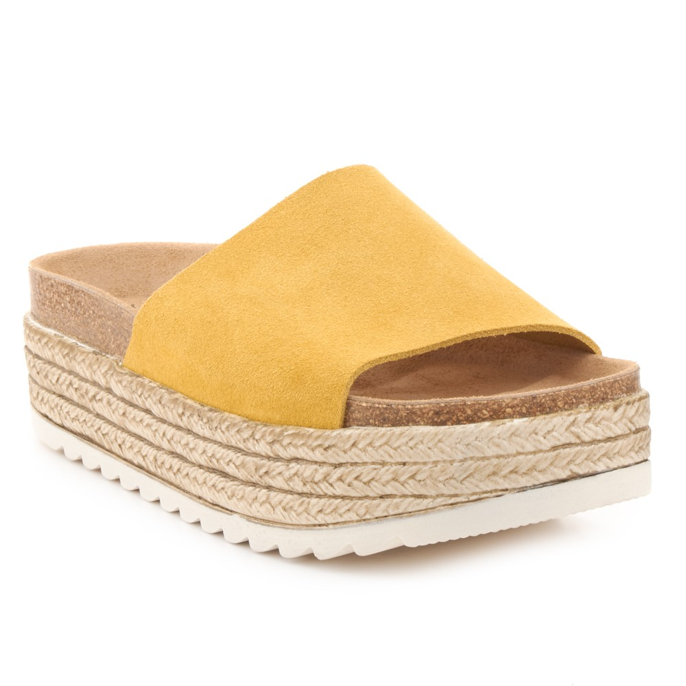 Sandalia de plataforma de piel NYC.