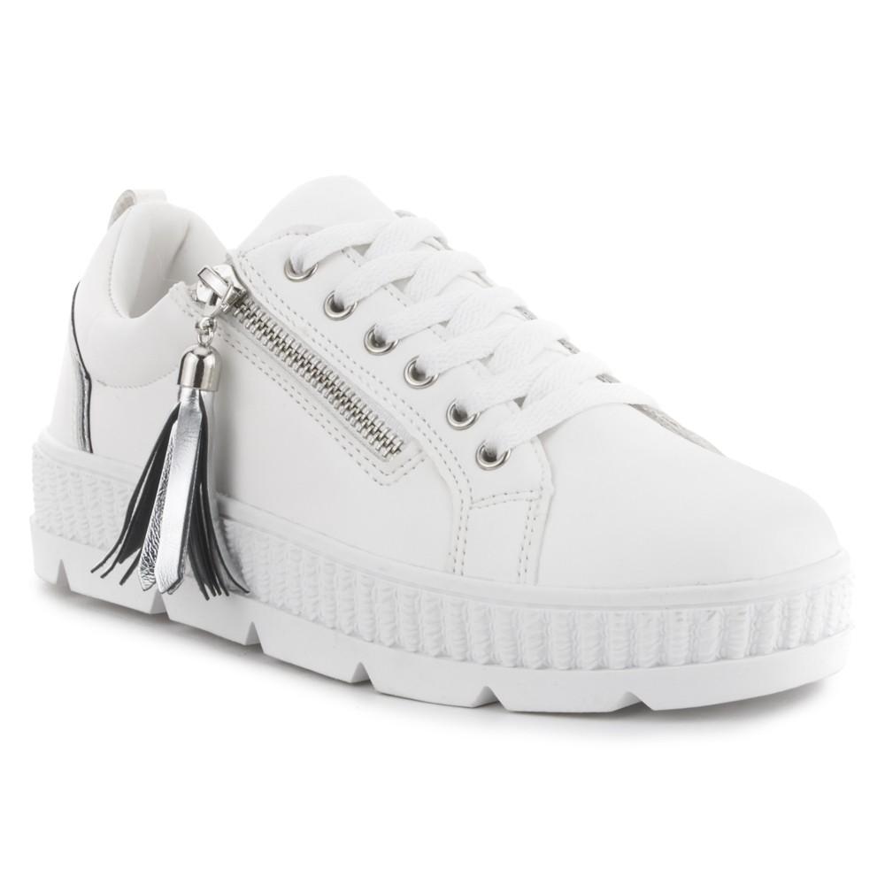 Sneaker blanca con borla NYC.
