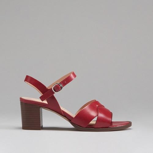 Sandalias de piel para mujer rojas de Fosco