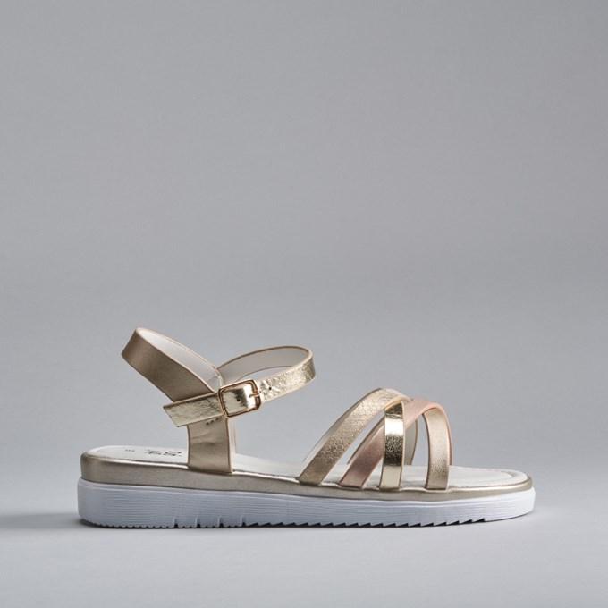 Sandalia metalizada plana OH GIRL
